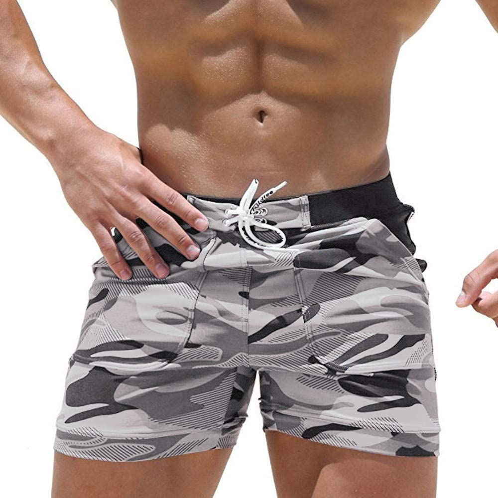 DIOMOR Fashion Camo 7 Inch Inseam Drawstring Athletic Shorts Outdoor Swim Beach Trunk Gym Camouflage Workout Pants
