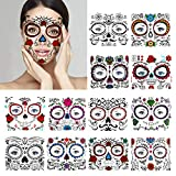 12 Pack Day of the Dead Face Tattoos, Sugar Skull Makeup Kit, Temporary Halloween Makeup Tattoo for Men and Women
