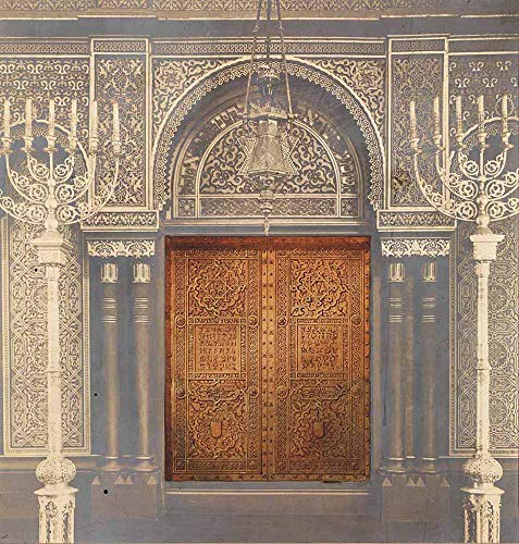 JH Lacrocon Louis Comfort Tiffany - Design Für Ark Türen Tempel Emanu EL New York Leinwandbilder Reproduktionen Gerollte 80X80 cm - Grafik Gemälde Vintage Gedruckt Wandkunst