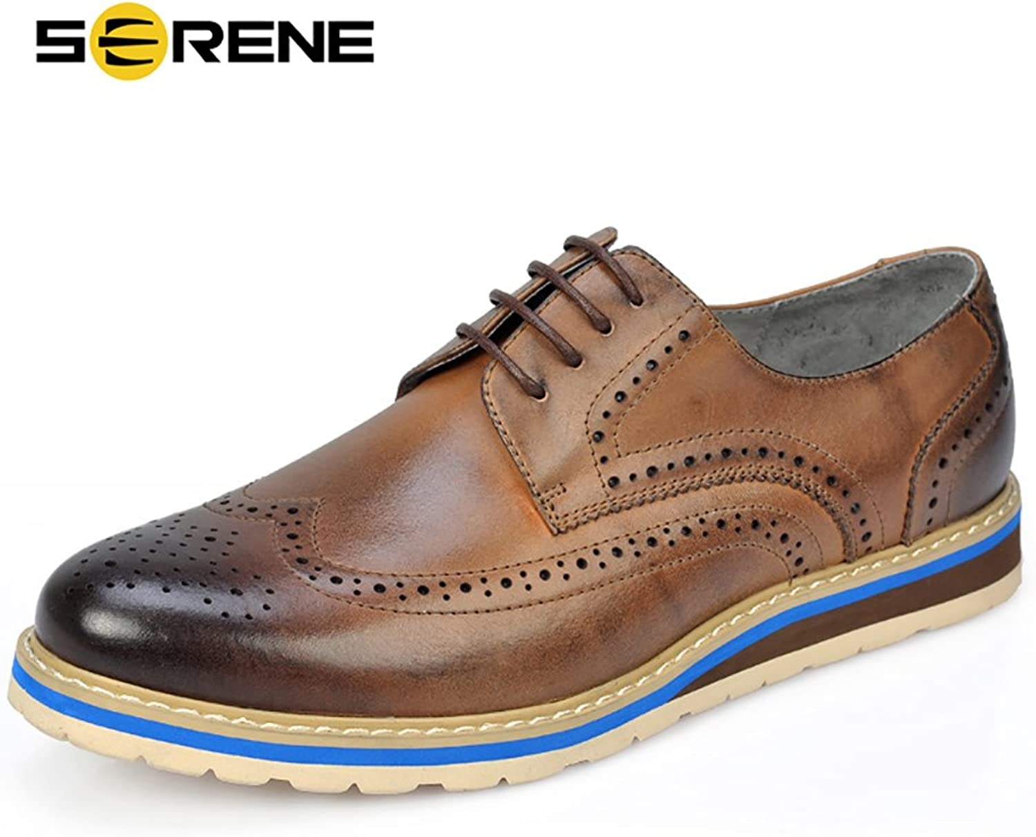VIISHOW Serene Retro Mens Dress shoes Leather Formal Business Brogue shoes for Men - Brown, bluee