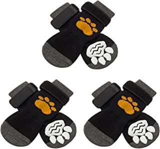 SCIROKKO 3 Pairs Anti-Slip Dog Socks with Golden Paw Pattern - Pet Adjustable Paw Protection for Puppy Indoor Traction Wear on Hardwood Floor