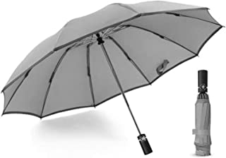 Reflective Strip 10K 210T Pongee Fully robotlike Umbrella Sun 3 Folding Fiberglass Solid Windproof Rain for Women Men Trav...
