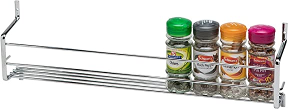 CKB Ltd 1-Tier Spice Rack Metal Wall mounted - Holds 10 Jars - Chrome SINGLE Shelf Wall Cupboard Door Mounted Storage Stand Kitchen Cooking Universal Organizer 45 x 7 x 14cm
