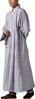 Gray Men's Long Gown Traditional Buddhist Meditation Monk Robe