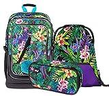 Schulrucksack Set Mädchen 3 Teilig - Schultasche ab 3. Klasse - Grundschule Ranzen mit Brustgurt - Ergonomischer Schulranzen (Tropical)