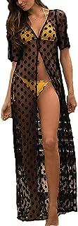 女性のロングカバーアップ水着のためのカーディガンポルカドットボタンダウンメッシュロングビーチドレス