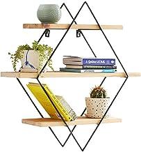 JUAN Geometric Shelf Wood Floating Shelf Nordic Wrought Iron Solid Wood Frame Wall Rack Living Room Creative TV Wall Rack ...