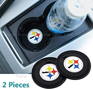 2 Pack 2.75 inch for Pittsburgh Steelers Car Interior Accessories Anti Slip Cup Mat for All Vehicles (Pittsburgh Steelers)