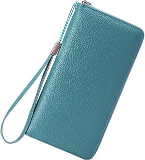 Portafoglio da donna in pelle, con protezione RFID, con 17 scomparti per carte di credito