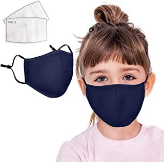 BeAcient Kids Dust Mask, Face Bandanas with Air Filter Cotton Sheet Washable Reusable Face Health with Adjustable Straps Protection Mask (Navy)