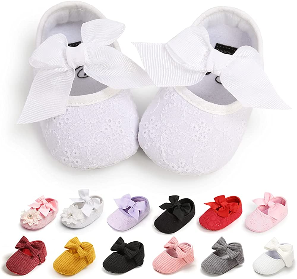 QWZban Baby Girls Mary Jane Flats with Bowknot Non-Slip Toddler First Walkers Princess Dress Shoes