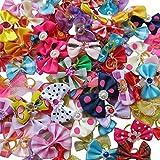 Chenkou Craft Hundehaar-Schleifen mit Gummiband und Strass, verschiedene Farben, verschiedene Muster, Hunde-Accessoires, 20 Stück