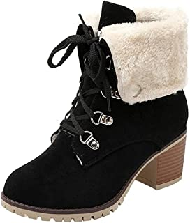 Sponsored Ad - SO SIMPOK Womens Lace Up Fur Winter Snow Boots Block Heel Ankle Boots Warm Suede Outdoor Chunky Heel Booties