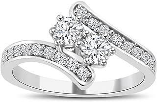 Madina Jewelry 0.71 ct Ladies Round Cut Diamond Anniversary Wedding Band Ring in 14 kt White Gold