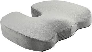 Art3d Premium Orthopedic Memory Foam Coccyx Seat Cushion Tailbone Pain, Sciatica Back Pain Relief - Office Chair Wheelchair Car Seat Cushion - Grey