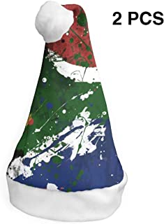 MNBVC South-African-Flag-HD-Wallpaper Christmas Hat Christmas Holiday Hat Santa Hat Fashion Christmas Hat for Adult and Kids Gift£¨2 Packs£