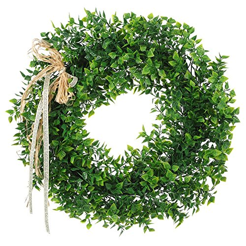 Adeeing 15 Inches Artificial Green Leaf Wreath with Bow Door Hanging Wall Window Decoration Holiday Festival Wedding Decor, Style A, 2 PCs