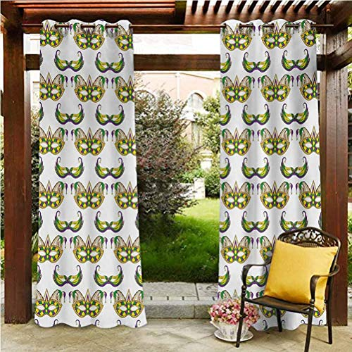 ScottDecor Mardi Gras Heat Durable Curtains Solid Cabana Grommet Curtain Festive Pattern with Masks Traditional Carnival Celebration Costume Purple Green Yellow 96' W by 84' L(K245cm x G214cm)