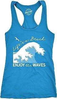 Womens Tank Lifes A Beach Enjoy The Waves Tanktop Cute Vacation Shirt