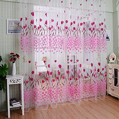Bluelans® Rideau en tulle pour porte et fenêtre de balcon Motif tulipes Rose 100 x 200 cm