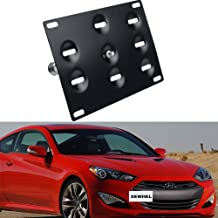 DEWHEL JDM Front Bumper Tow Hook License Plate Mount Bracket Holder Tow Hole Adapter Bolt On for 10-16 Hyundai Genesis Coupe