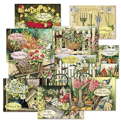 """Susan Winget Birthday Greeting Cards Value Pack - Set of 20 (10 designs), Large 5"""" x 7"""", Happy Birthday Cards with Sentiments Inside, Envelopes Included"""