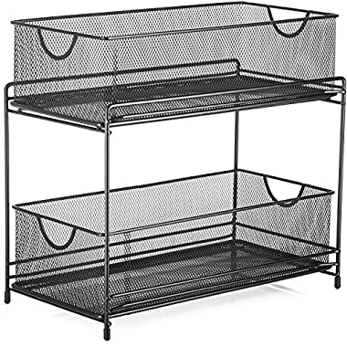 Halter Two Tier Mesh Storage Drawers Baskets for Laundry Kitchen Office Bathroom and More - 14  X 12.75  X 6.75  - Black