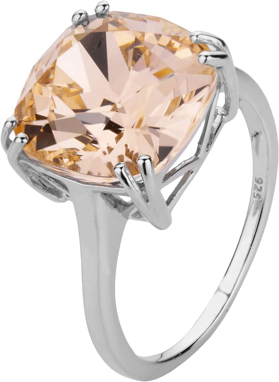 ShahGems 安値 Genuine Swarovski Crystal Rings for (人気激安) 925 Sterling Women