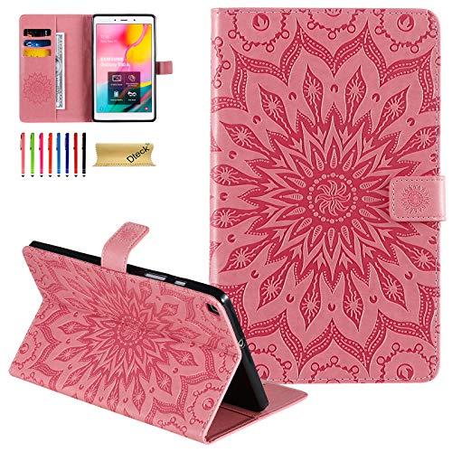 Dteck Galaxy Tab A 8 Zoll (20,3 cm), T290, schmal, geprägtes PU-Leder, mit Standfunktion, Brieftaschenformat für Samsung Galaxy Tab A 8 Zoll (20,3 cm), Modell T290, T295, T297, ohne S-Stift, Pink