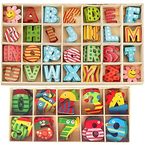 152 Stück Holzbuchstaben und Nummern,Holz Großbuchstaben,Bunte Holzbuchstaben Zahlen,Kinder Holz Alphabet Buchstaben,für Kunsthandwerk DIY Hochzeit Display Dekor Wandkunst Dekor Kleinkind