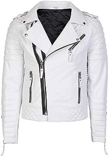 Coats & Jackets Men Genuine Black Leather Motorcycle Jacket Size 6 Xl Jade White