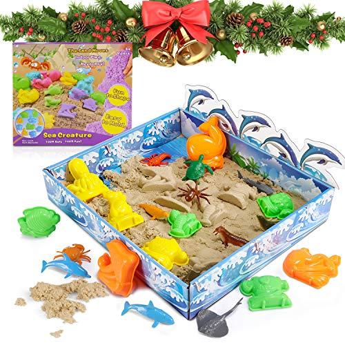 Play Sand Set Magic Sand Spielsand Natürlichen Indoor Spielsand Bastelsand mit 10 Sandformen & 12 Tierspielzeug für Kinder Jungen Mädchen 3 4 5 6 7+ Jahre Alt Creative Toys