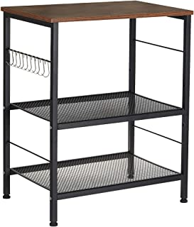 Microwave Oven Stand, Kitchen Baker's Rack 3-Tier Mesh Kitchen Storage Cart with Metal Frame Industrial Wood Accent Furnit...