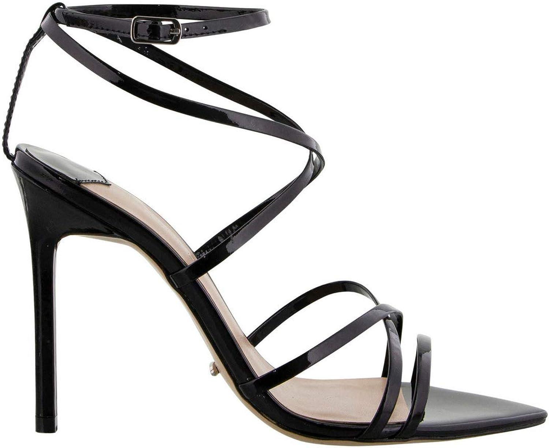 Tony Bianco Marcy Stiletto Heels - Black Leather Open Toe Sandals