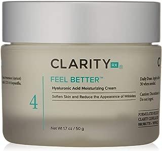 ClarityRx Feel Better Hyaluronic Acid Moisturizing Cream - Ideal Daytime or Nighttime Moisturizer for Dry Skin, Wrinkles and Anti-Aging
