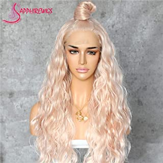Sapphirewigs Long Rose Gold Blonde Color Natural Curly Daily Makeup Heat Resistant Synthetic Lace Front Wedding Wedding Party Wigs