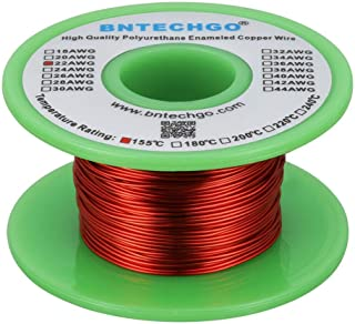 """BNTECHGO 22 AWG Magnet Wire - Enameled Copper Wire - Enameled Magnet Winding Wire - 4 oz - 0.0256"""" Diameter 1 Spool Coil R..."""