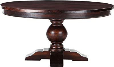 World Interiors Mango Wood Round Dining Table In Chestnut