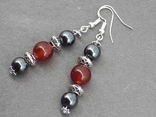 Orecchini di Thurcolas Venezia con perle dell'ematite e dell'agata rossa