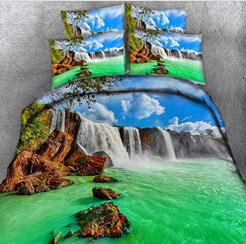 CHABED Ensemble De Literie 3D Impression Multicolor Eau Cascade Lit Double Couettes Imprimées Taies D'Oreillers Couvre-Lit Housse De Couette_220*260CM