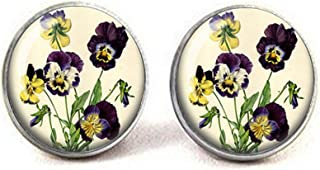 Pansies Vintage Botanical Illustration - Botanical Jewelry - Botany - Flower Jewelry - Pansy Earrings - Old Fashioned Earrings - Viola