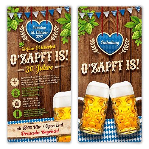 Einladungskarten Oktoberfest Geburtstag (60 Stück) Bayern Einladungen - O'zapft is! in Blau