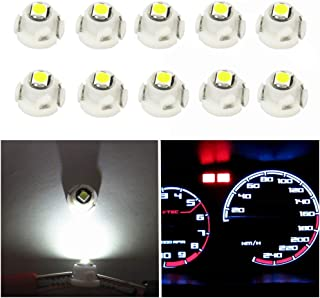 WLJH 10x T4.7 Neo Wedge Led T4 3030SMD 12mm Wedge Base Led Car Instrument Cluster Bulb Dashboard Gauge HVAC AC Heater Control Switch Climate Lamps Radio Indication Interior Light Replacement White