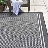 Gertmenian 22258 Outdoor Rug Freedom Collection Bordered Theme Smart Care Deck Patio Carpet, 9x13 Extra Large, Border Black and White