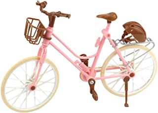 Tuliptown Mart Fashion Pink Accessories Detachable Bike Toy with Basket & Safety Hat for Barbie Dolls for Kids Play House ...