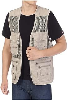 Men's Safari Fishing Hunting Mesh Vest Photography Work Multi-Pockets Outdoors Travel Journalist's Jacket