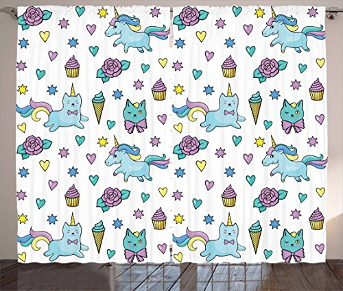 "Ambesonne Unicorn Cat Curtains, Girls Pattern Hearts Stars Flowers Ice Cream Funny, Living Room Bedroom Window Drapes 2 Panel Set, 108"" X 84"", Blue"