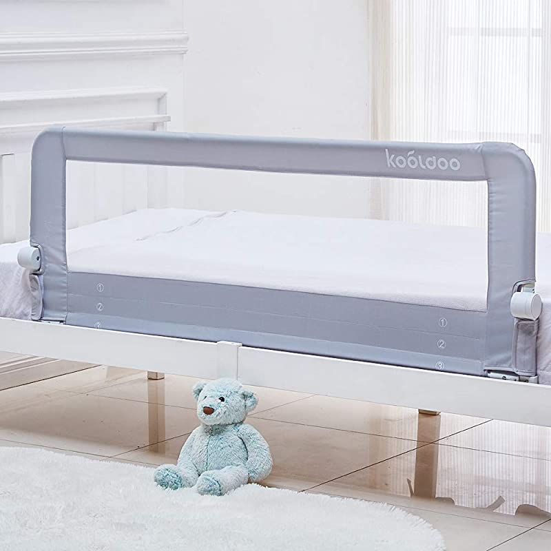 KOOLDOO 59 Inch Baby Toddler Bed Rail Guard Extra Long Foldable Safety Bedrail With Reinforced Anchor Safety System Gray