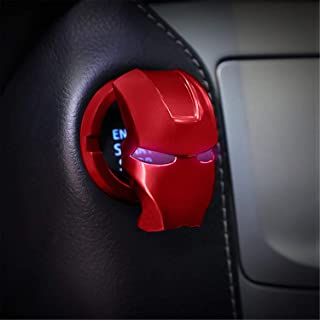 Car Push Start Button Cover, Iron Man Start Button Protective Cover, Universal Aluminum Alloy Anti-Scratch Car Start Butto...
