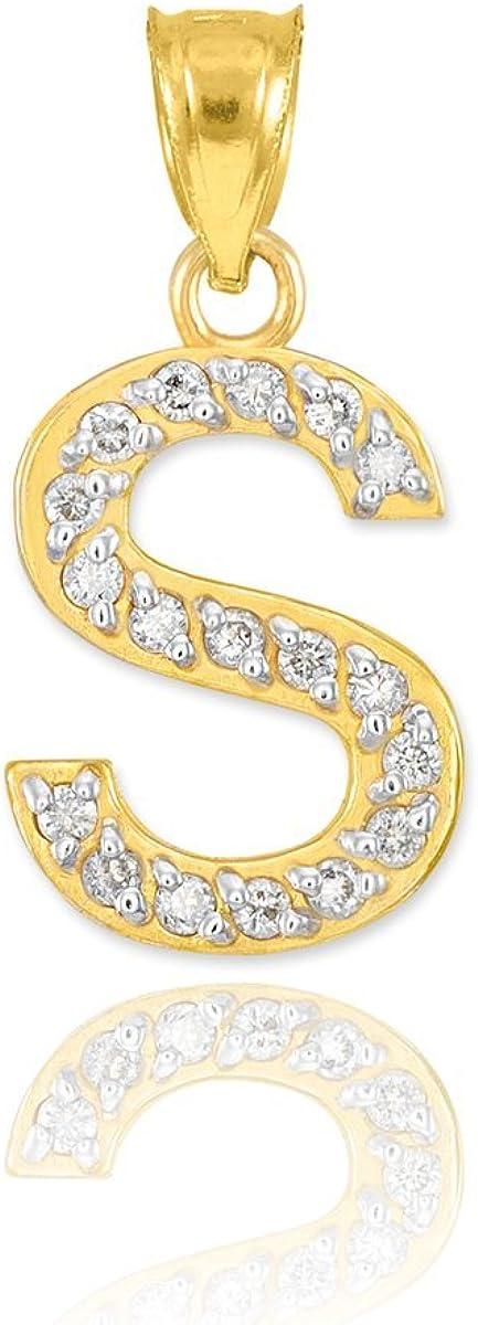 10k Yellow Gold Diamond Alphabet Initial New item Pendant Charm S Letter Branded goods